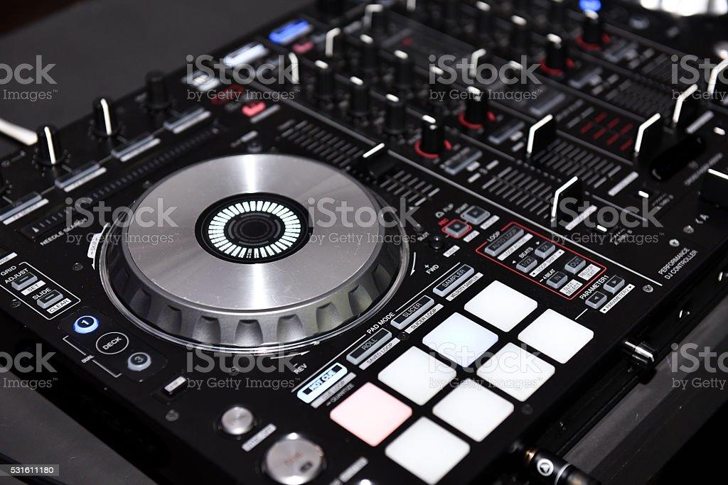 DJ console stock photo