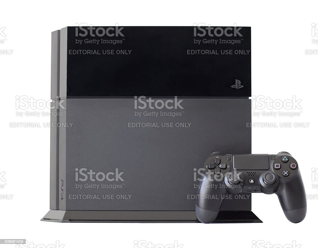 console SONY PlayStation 4 with a joystick DualShock4 stock photo