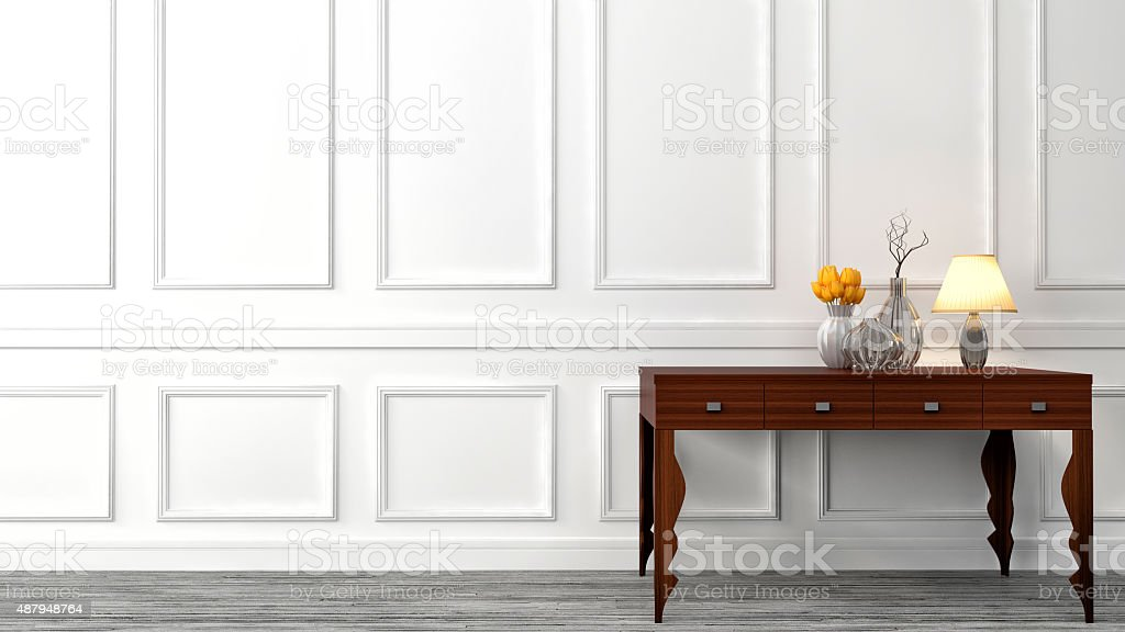 console table in a classic living room interior. 3D illustration stock photo