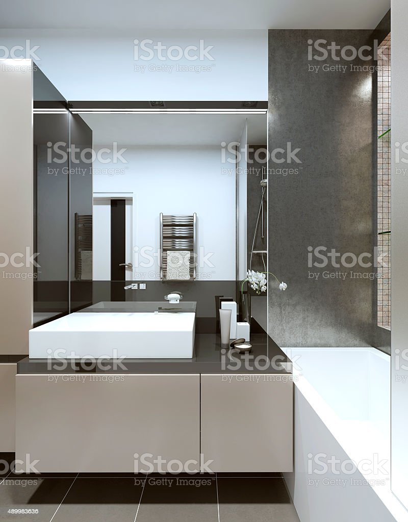 Console with sink in the bathroom. stock photo
