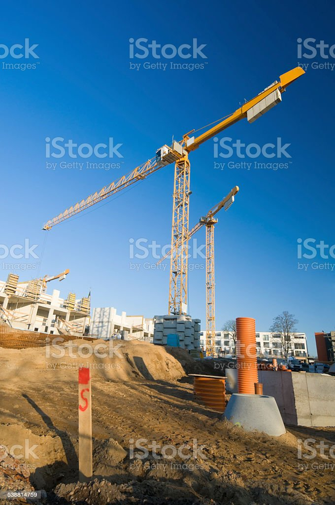 Consruction site with cranes stock photo