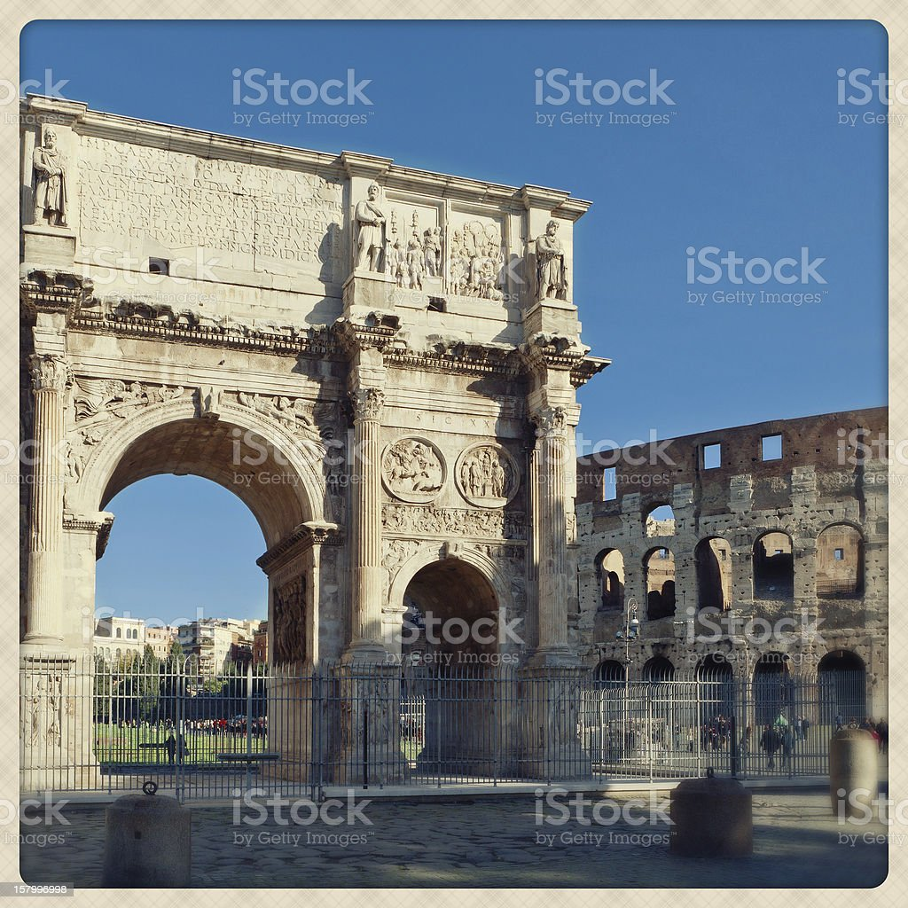 Constantine's Arc with Coliseum on the background royalty-free stock photo