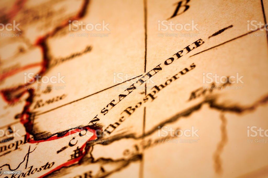 Constantinople on an Antique map stock photo