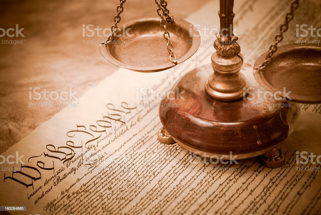 Constitution and scales of justice stock photo