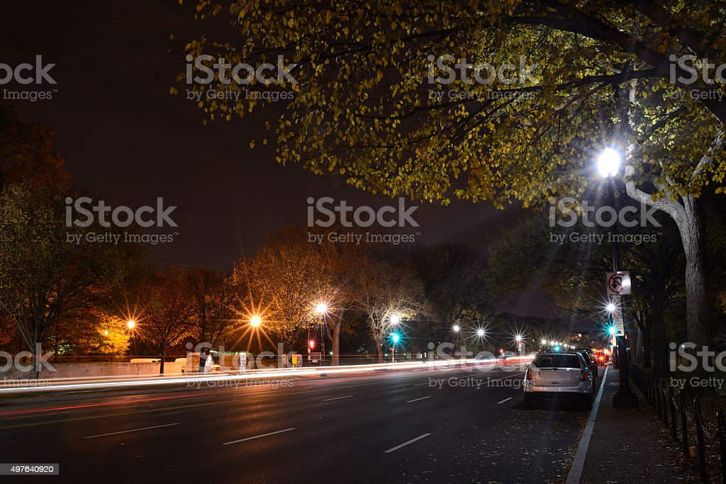 Constitution Avenue in Washington DC at Night stock photo