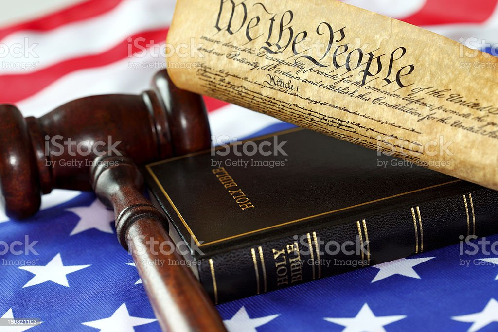 US Constitution, Bible, Flag and Gavel stock photo