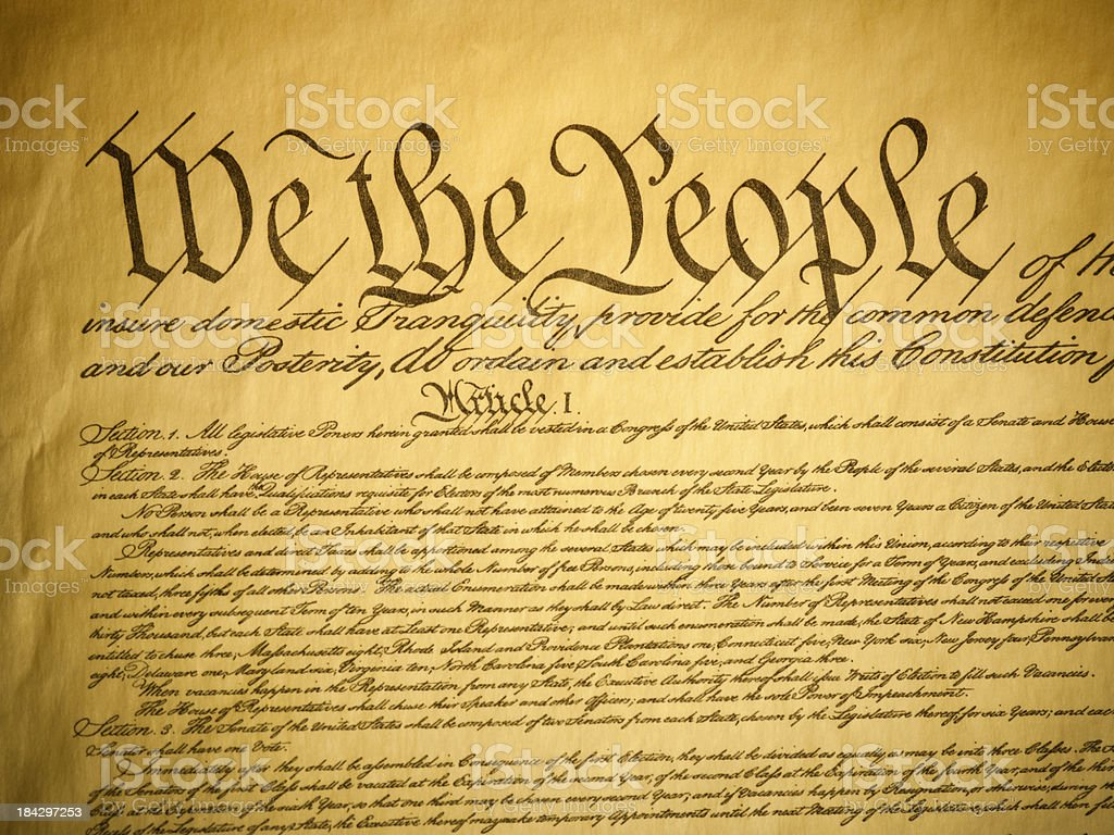 USA Constitution detail stock photo