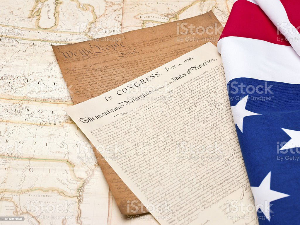 US constitution documents, american flag on USA map royalty-free stock photo