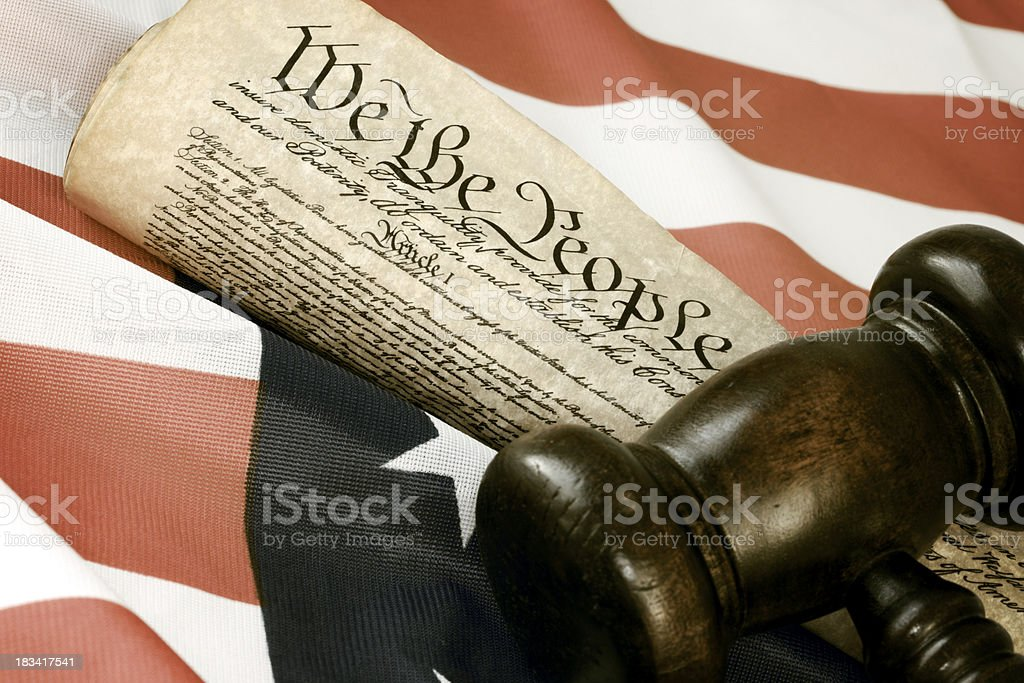 US Constitution, Flag and Gavel royalty-free stock photo
