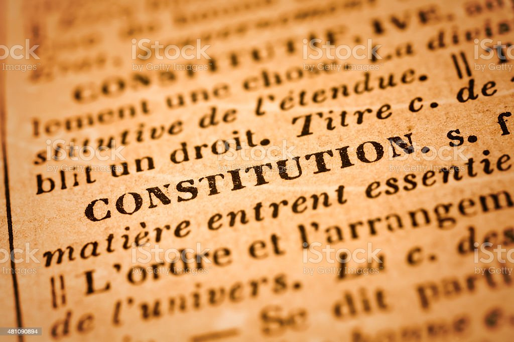 Constitution: French Dictionary Close-up stock photo