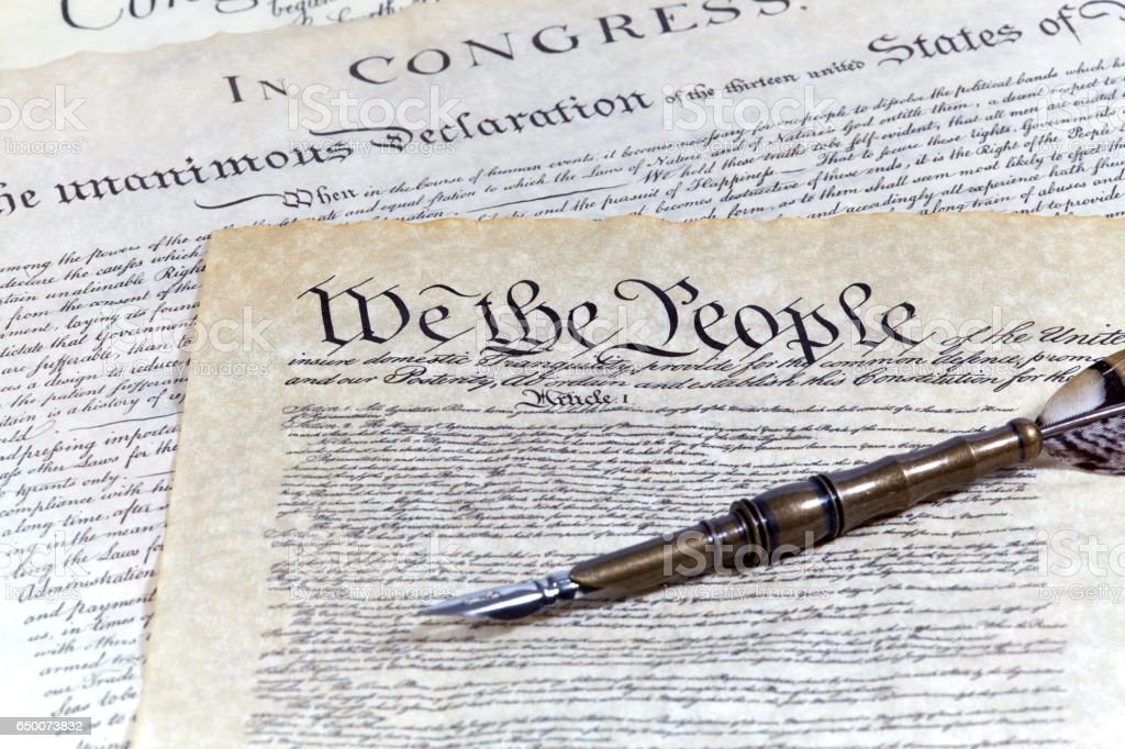US Constitution Historical Documents with a Quill Pen stock photo