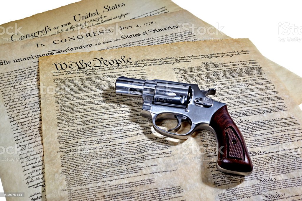 US Constitution Historical Documents with Revolver stock photo