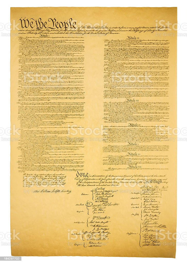 USA Constitution isolated on white stock photo