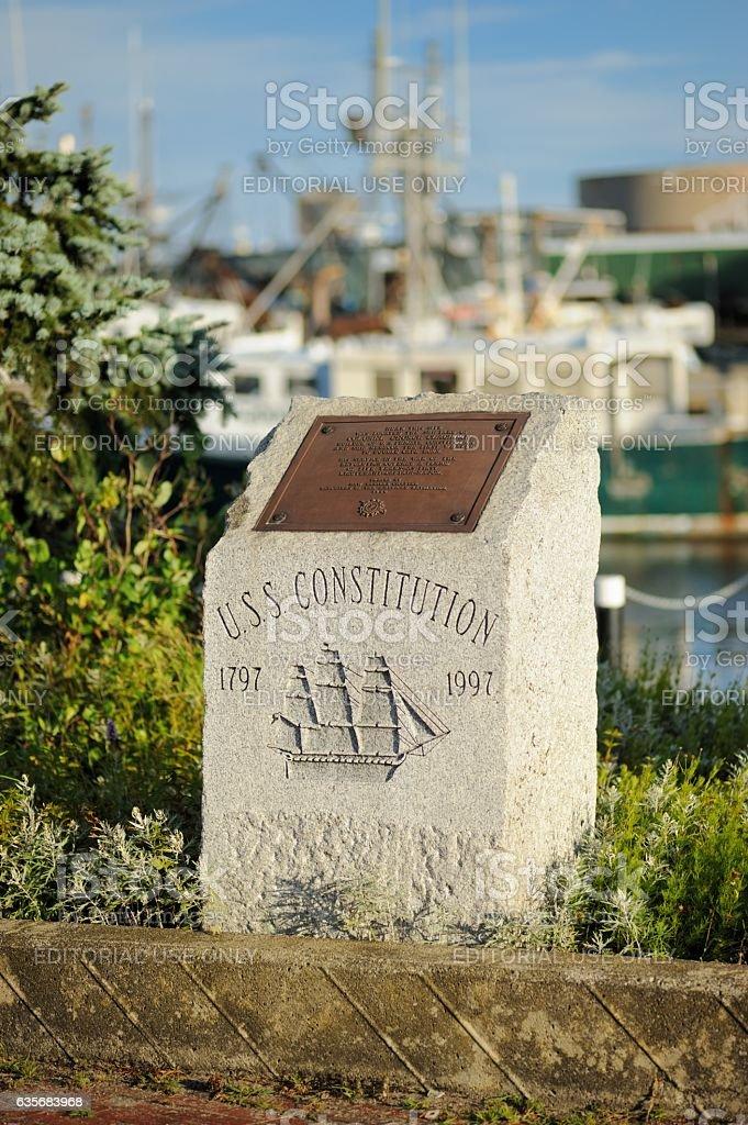 USS Constitution memorial plaque stock photo