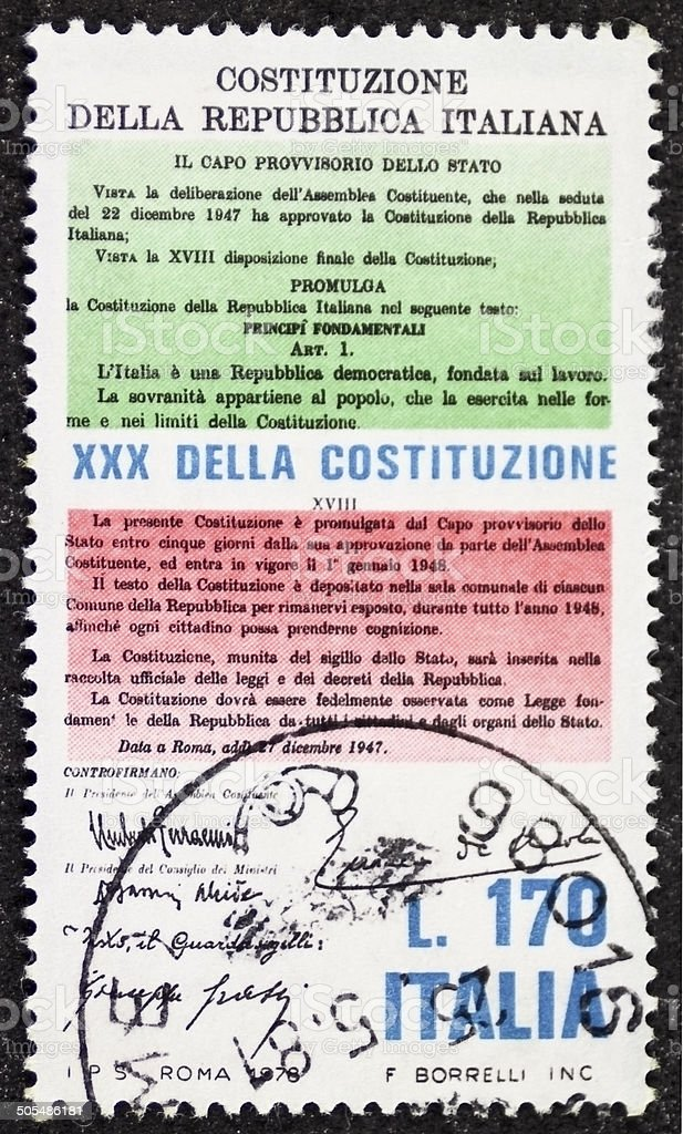 Constitution of Italy postage stamp stock photo