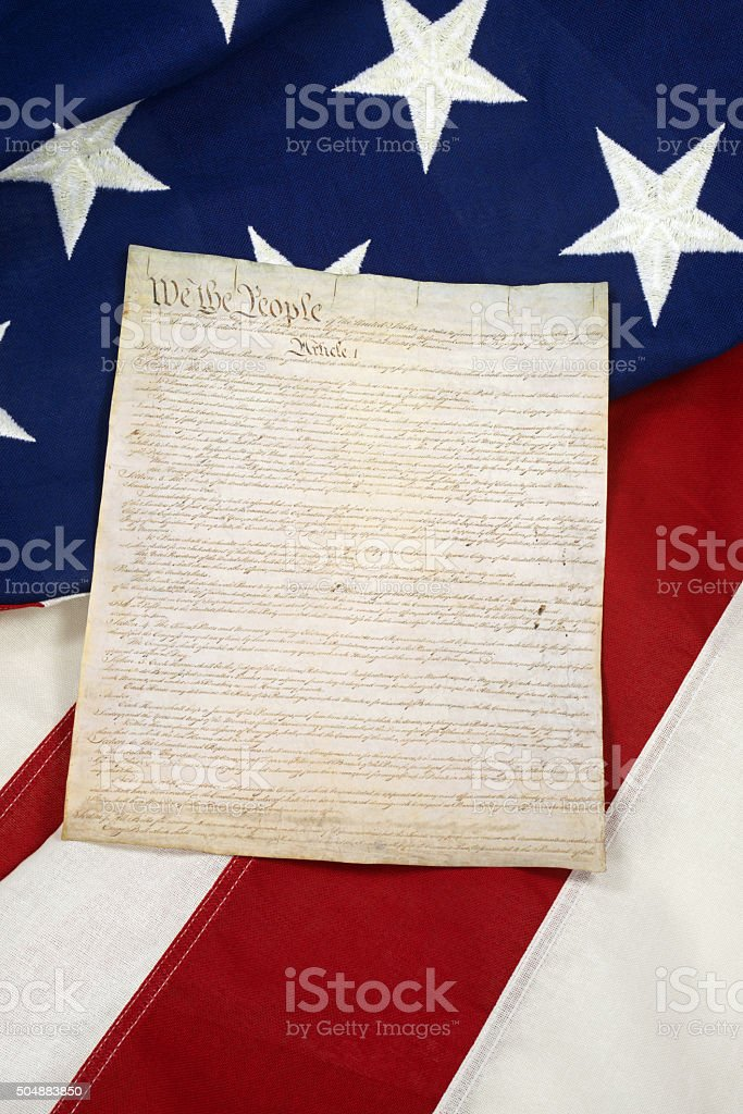 Constitution on American Flag, Vertical stock photo