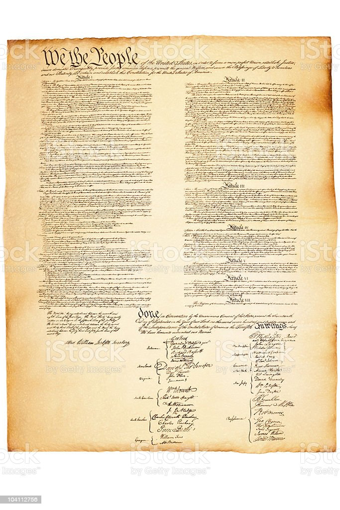 US Constitution on Parchment paper stock photo