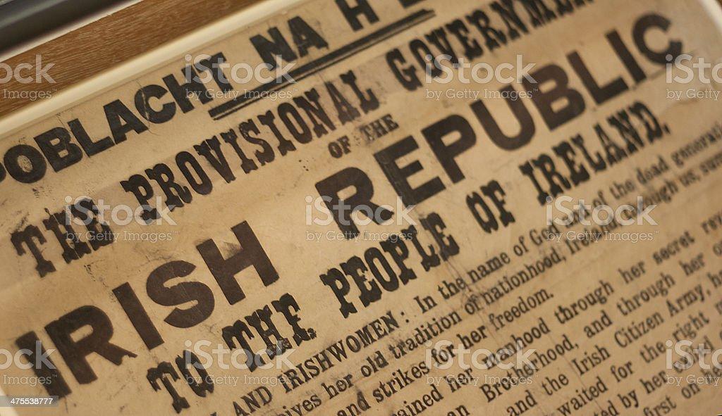 Constitution Statement of Ireland stock photo