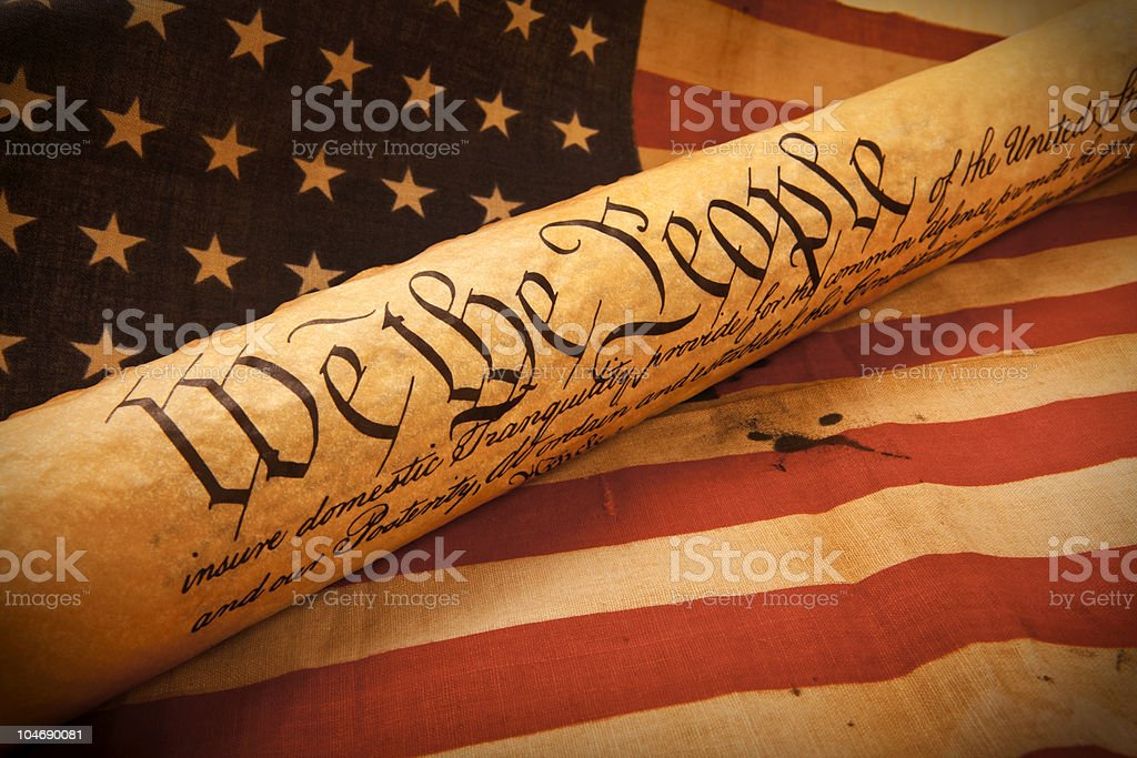 US Constitution - We The People   with USA  Flag. stock photo