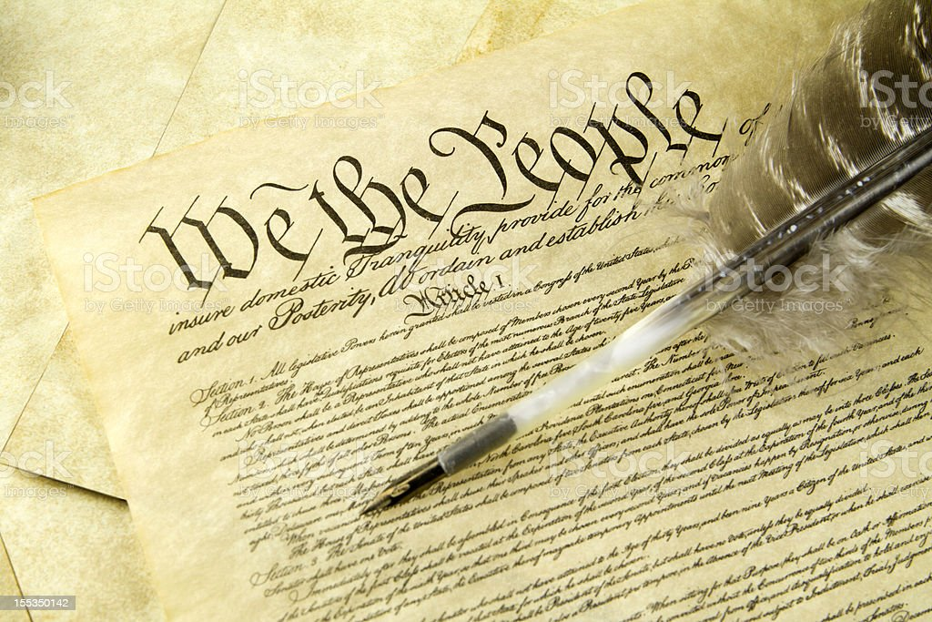 US Constitution With Quill Pen stock photo