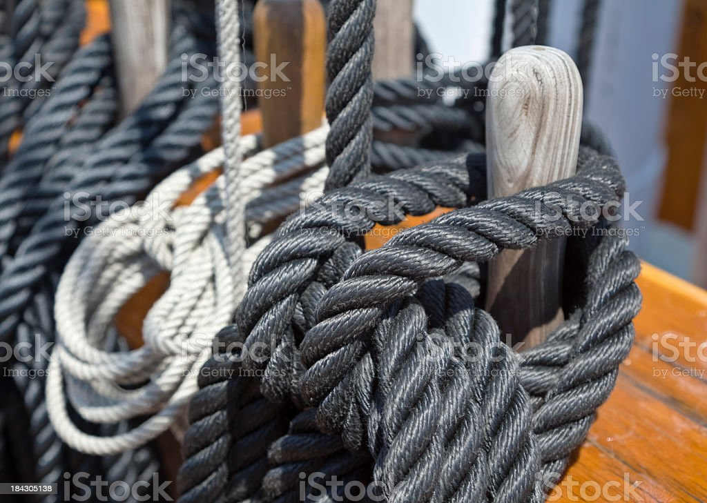 USS Constitution's Tied Rigging with Tarred Ropes royalty-free stock photo