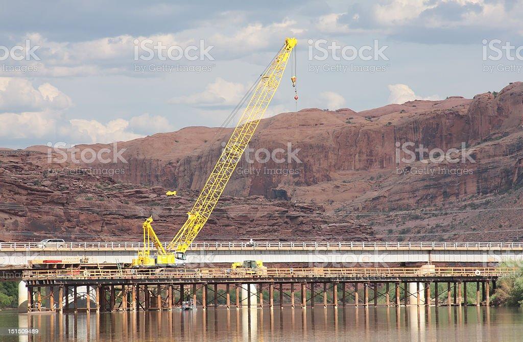 Constructing a bridge royalty-free stock photo