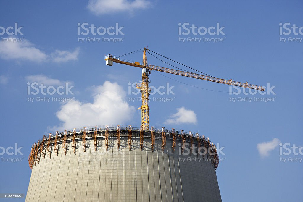 Constructing A Cooling Tower stock photo