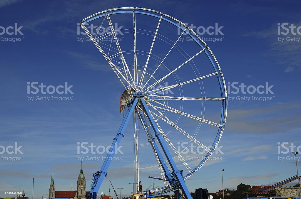 Constructing a giant wheel stock photo