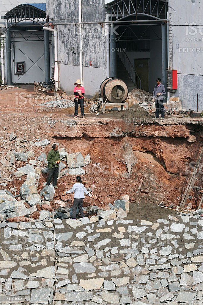 Costruzione di un muro, Cina foto stock royalty-free