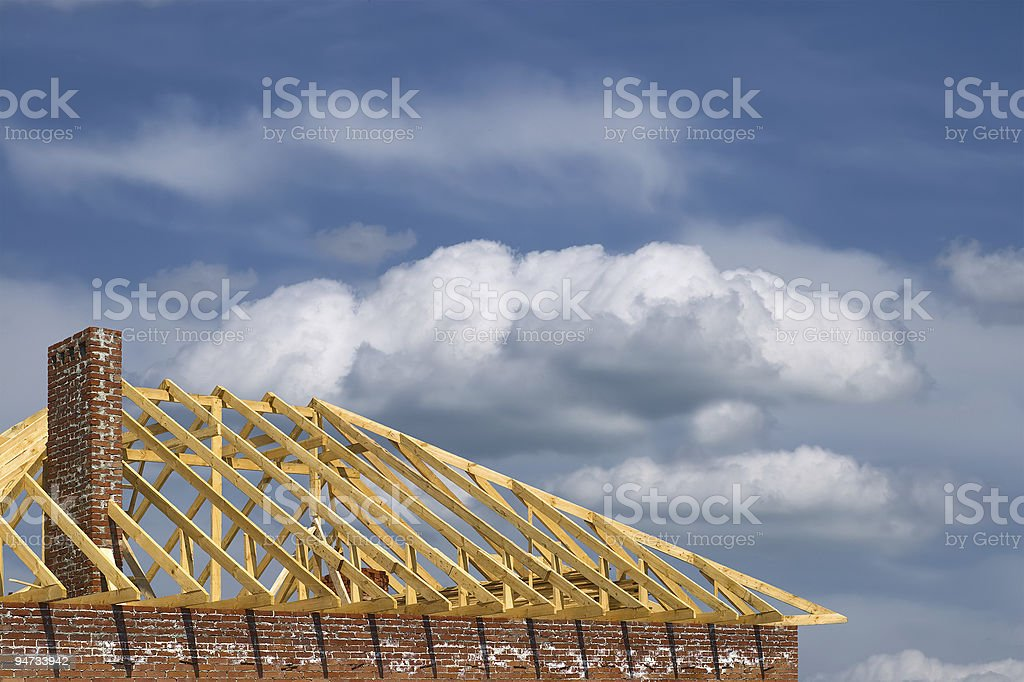 constructing of the roof royalty-free stock photo