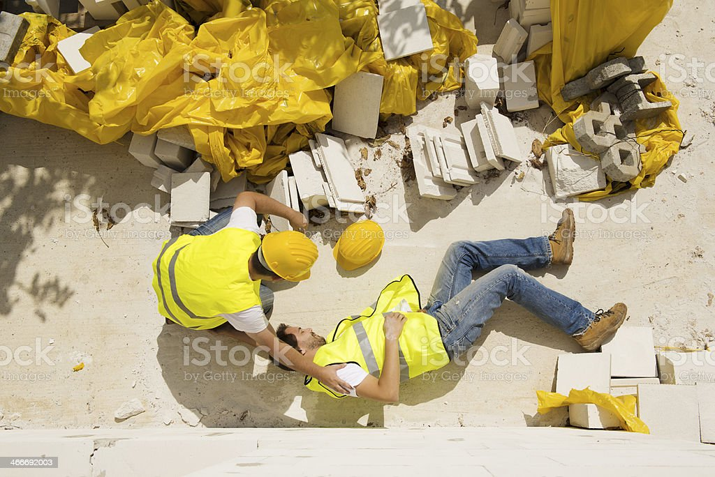 Construction accident while working on site stock photo