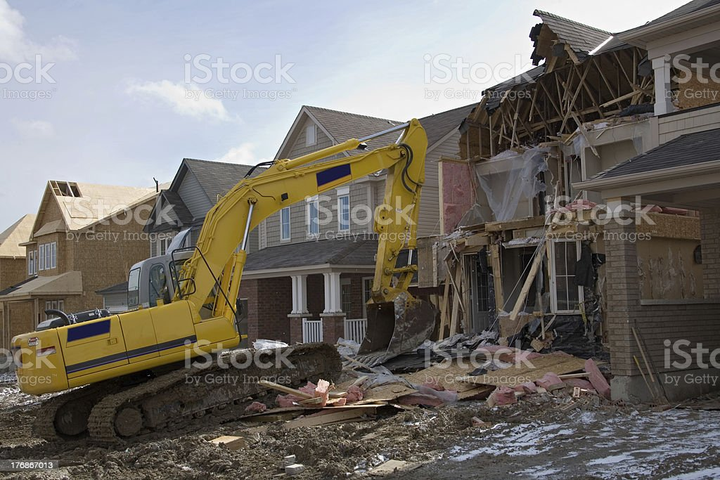 construction after fire stock photo