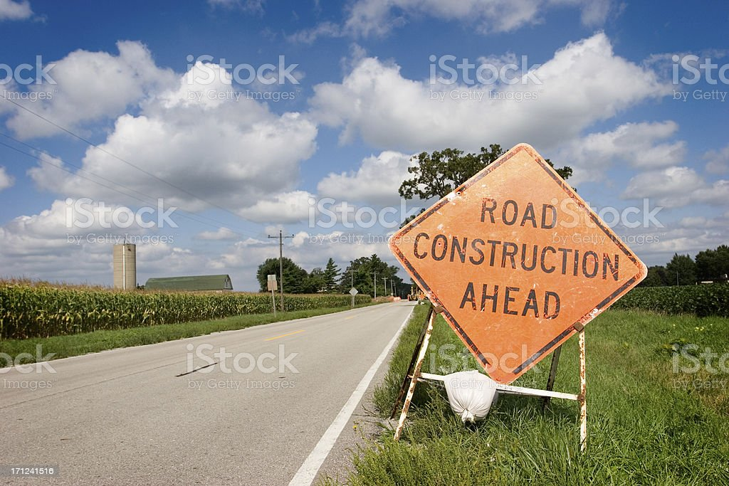 Construction Ahead royalty-free stock photo