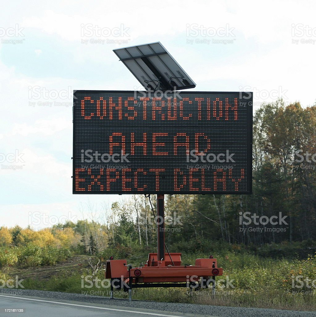 Construction Ahead Sign stock photo