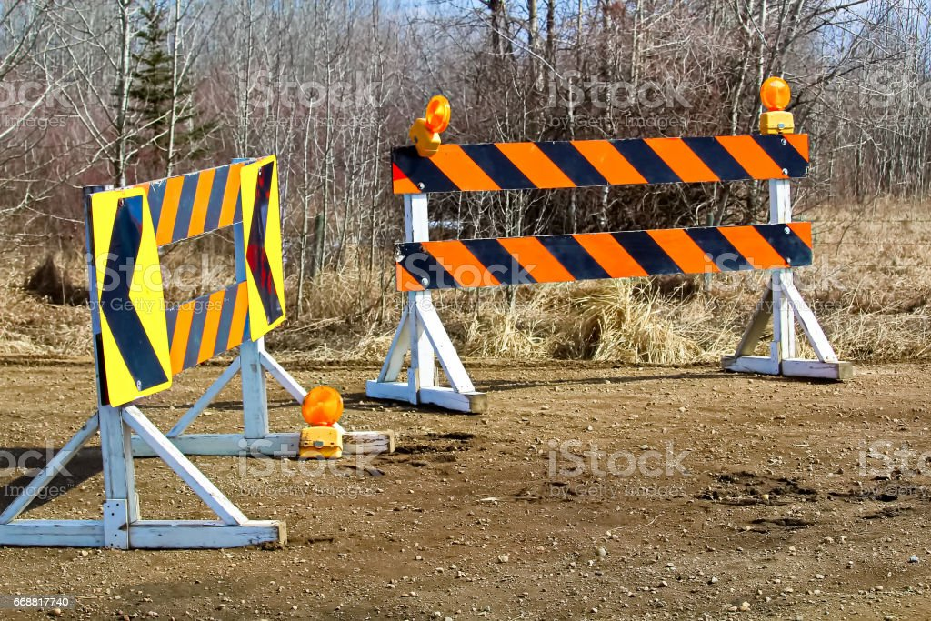 A construction and detour sign blockage stock photo