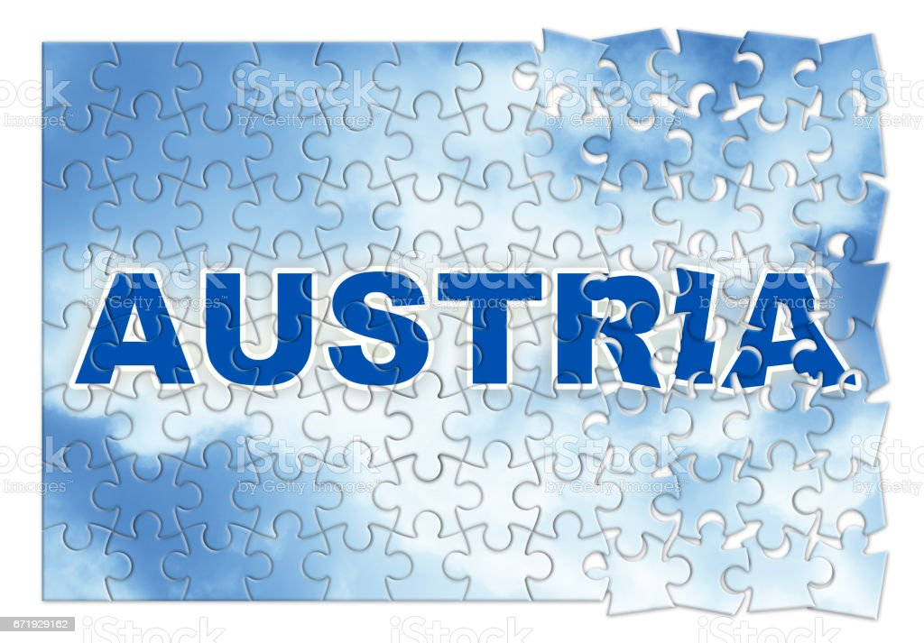 Construction and reconstruction of Austria - concept image in jigsaw puzzle shape stock photo