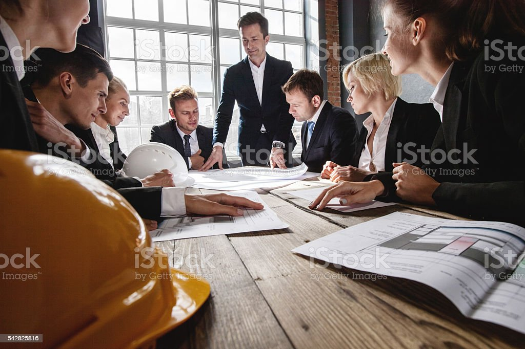 Construction architects in office stock photo