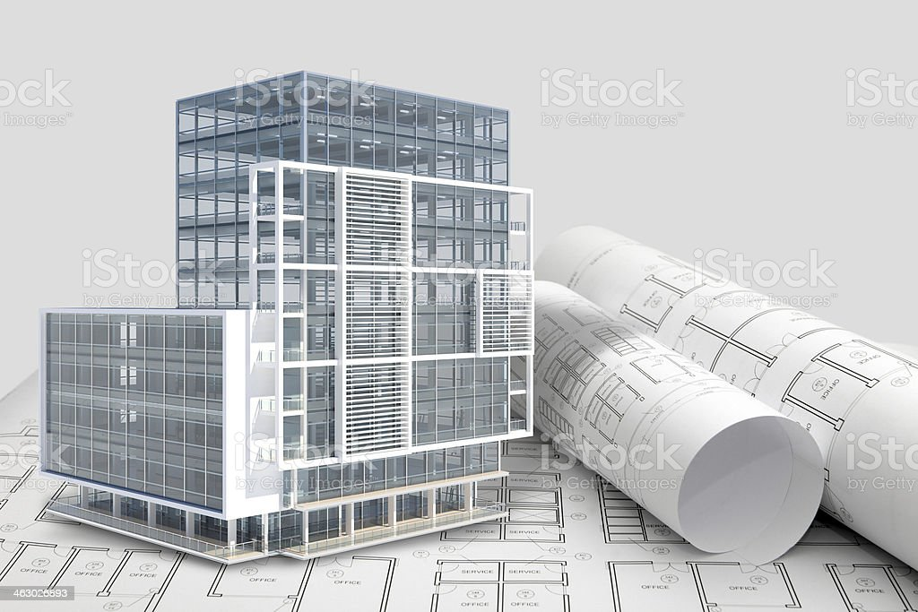 Construction architecture blueprint with office building exterior and 3D model stock photo