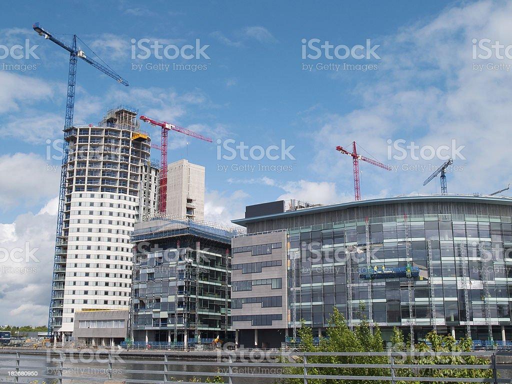 Construction at Salford Quays Media City horizontal stock photo