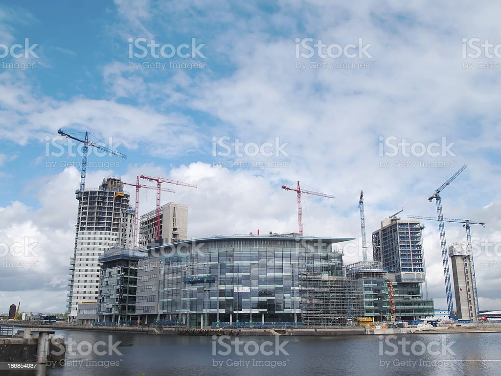 Construction at Salford Quays Media City wide horizontal stock photo