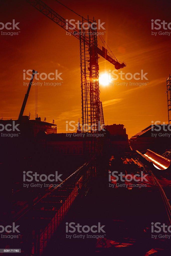 Construction at sunset stock photo