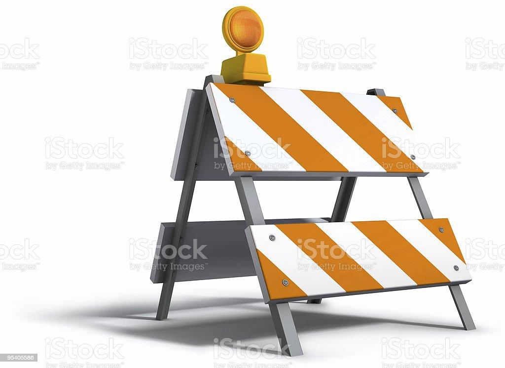 Construction barricade on white background stock photo