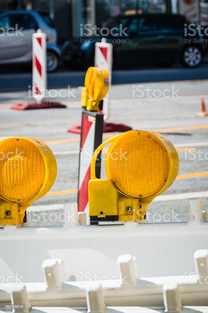 Construction Barrier Warning Light royalty-free stock photo