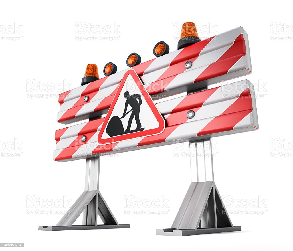 Construction barrier with under construction road sign stock photo
