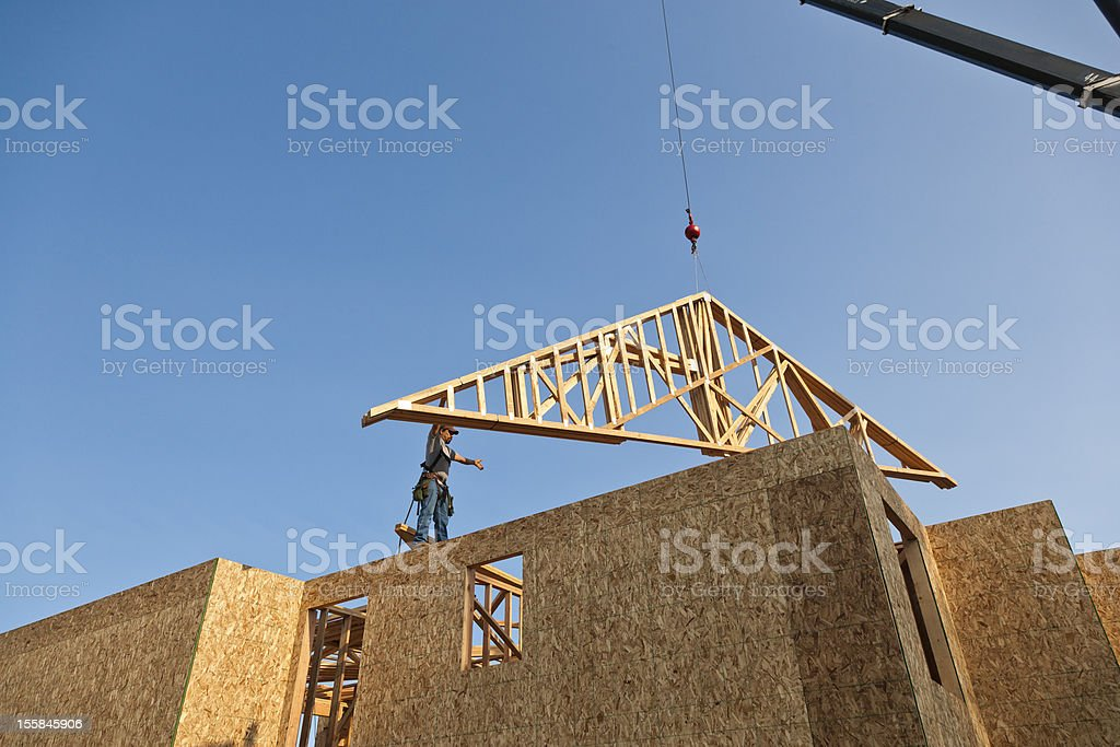 Construction being done on a new home stock photo