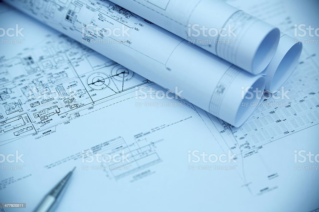 Construction Blueprint-Architecture Industry Paperwork royalty-free stock photo