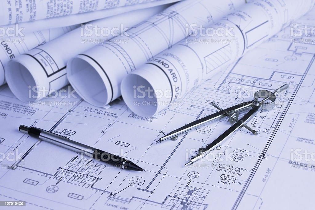 Construction Blueprints and Compass royalty-free stock photo