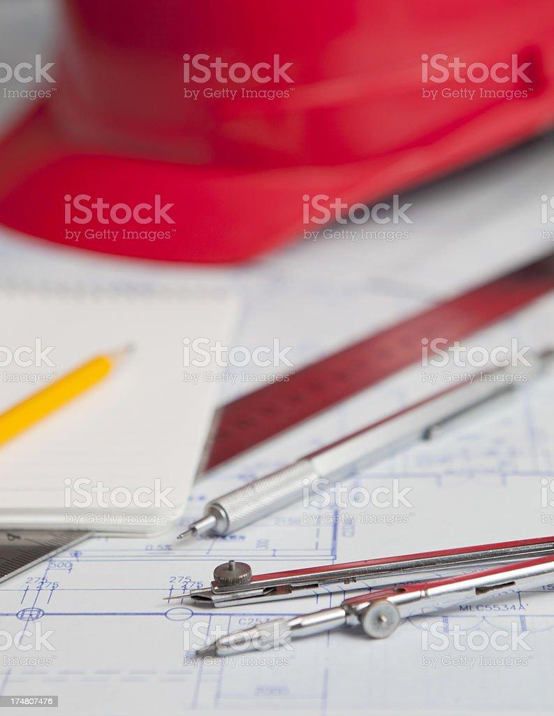 Construction blueprints royalty-free stock photo