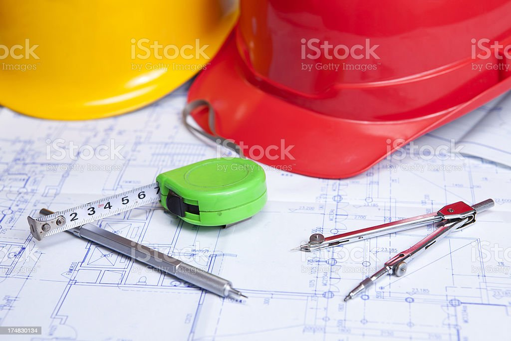 Construction blueprints royalty-free stock photo