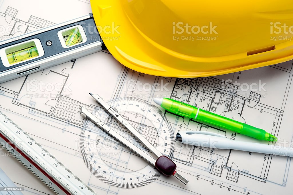 Construction blueprints stock photo